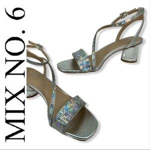 Mix No. 6 Carice Silver Shimmer Sandals Heels 8